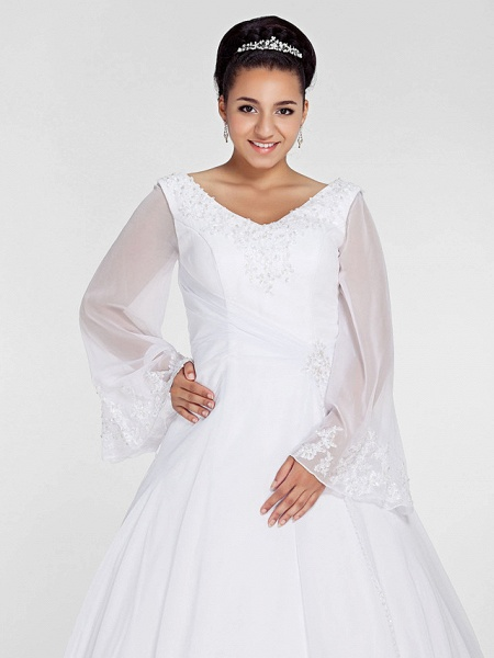 Ball Gown A-Line Wedding Dresses V Neck Court Train Chiffon Long Sleeve Formal Plus Size Illusion Sleeve_5