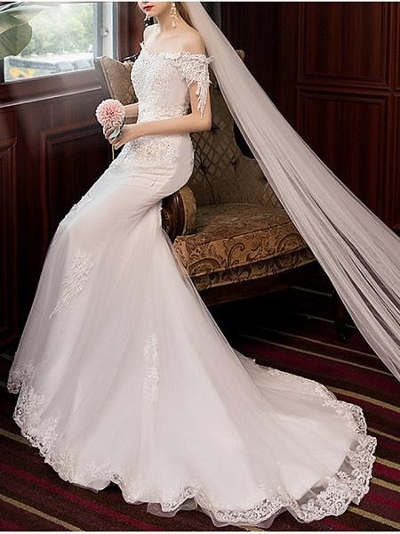 Mermaid \ Trumpet Wedding Dresses Off Shoulder Sweep \ Brush Train Polyester Short Sleeve_3