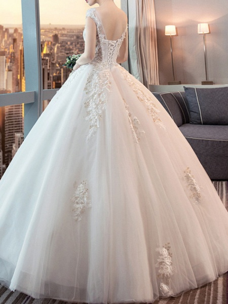 Ball Gown Wedding Dresses Jewel Neck Floor Length Lace Tulle Sleeveless Formal Plus Size_3
