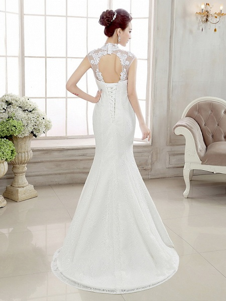 Mermaid \ Trumpet Wedding Dresses High Neck Sweep \ Brush Train Lace Cap Sleeve Sexy Illusion Detail Backless_2