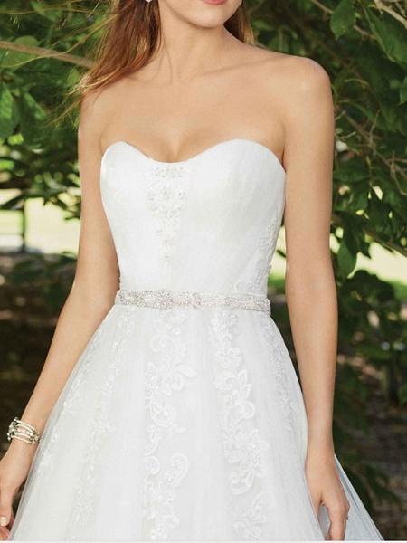 A-Line Wedding Dresses Sweetheart Neckline Court Train Lace Sleeveless Sexy Wedding Dress in Color_3
