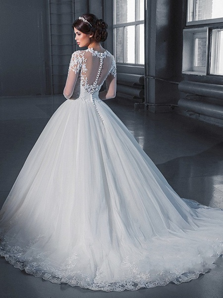 A-Line Off Shoulder Court Train Lace Long Sleeve Sexy Wedding Dresses_2