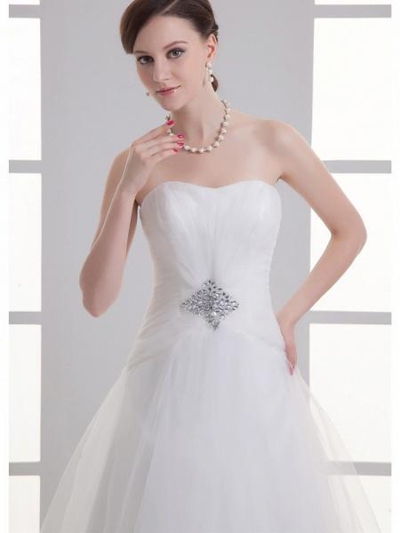 A-Line Wedding Dresses Sweetheart Neckline Chapel Train Lace Satin Strapless_5