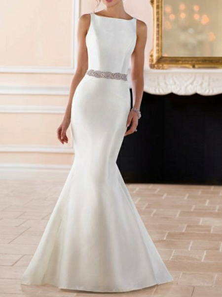 Mermaid \ Trumpet Wedding Dresses Jewel Neck Sweep \ Brush Train Satin Regular Straps Simple Elegant_3