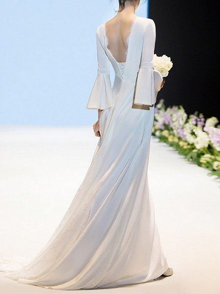 Sheath \ Column Wedding Dresses V Neck Sweep \ Brush Train Chiffon Long Sleeve Casual Beach_2