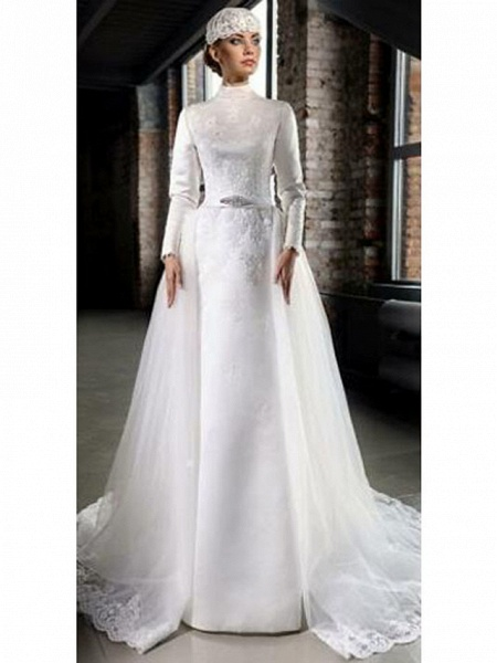 A-Line High Neck Court Train Lace Tulle Long Sleeve Country Wedding Dresses_2