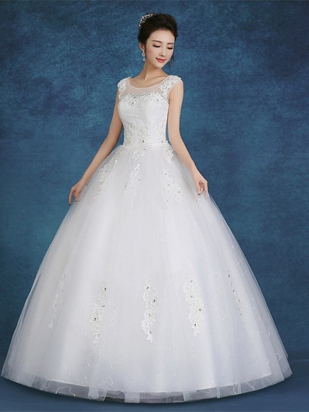 Ball Gown Wedding Dresses Scoop Neck Floor Length Satin Tulle Cap Sleeve Romantic See-Through Backless_4