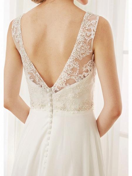 A-Line Wedding Dresses V Neck Court Train Chiffon Lace Bodice Regular Straps Sexy Illusion Detail Backless_9