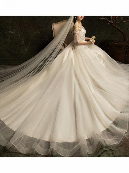 A-Line Wedding Dresses Jewel Neck Court Train Lace Half Sleeve_1