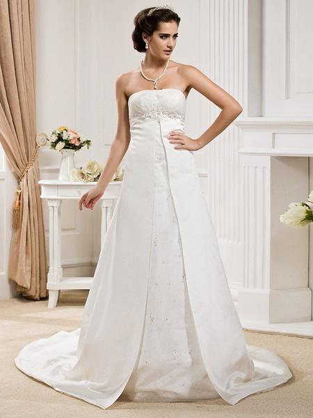 Princess A-Line Wedding Dresses Strapless Court Train Organza Satin Sleeveless_7