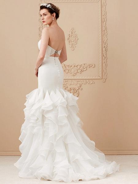 Mermaid \ Trumpet Wedding Dresses Sweetheart Neckline Sweep \ Brush Train Organza Tulle Cap Sleeve Formal Separate Bodies_7