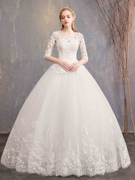 Ball Gown Wedding Dresses Bateau Neck Maxi Lace Tulle Half Sleeve Glamorous Illusion Sleeve_1