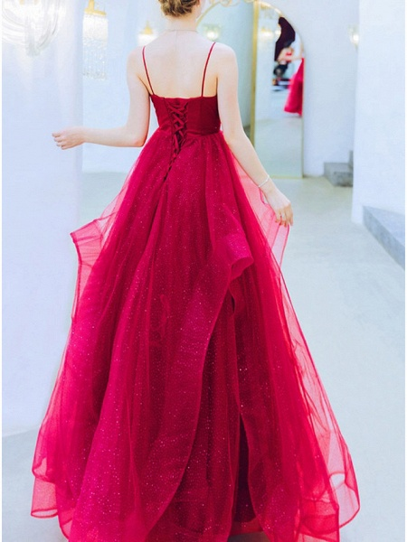 A-Line Wedding Dresses V Neck Floor Length Organza Sleeveless Romantic Plus Size Red_4