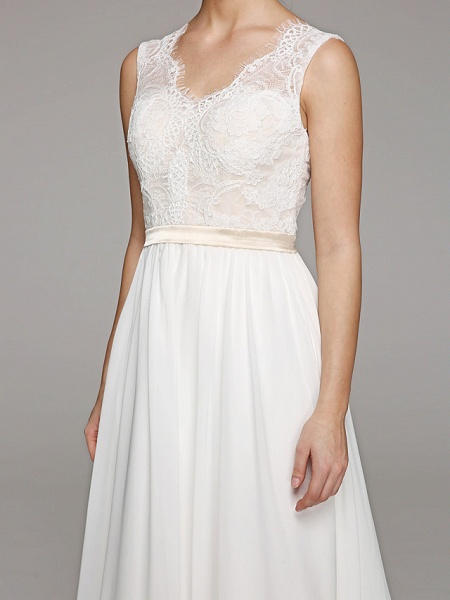 A-Line Wedding Dresses V Neck Court Train Chiffon Lace Bodice Regular Straps Simple Illusion Detail Backless_7