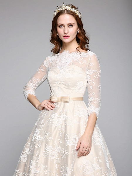 A-Line Wedding Dresses Bateau Neck Ankle Length Lace Over Satin 3\4 Length Sleeve Casual Boho See-Through Cute Illusion Sleeve_7