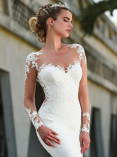 Mermaid \ Trumpet Wedding Dresses Jewel Neck Court Train Lace Long Sleeve Formal Casual Vintage Illusion Sleeve_3