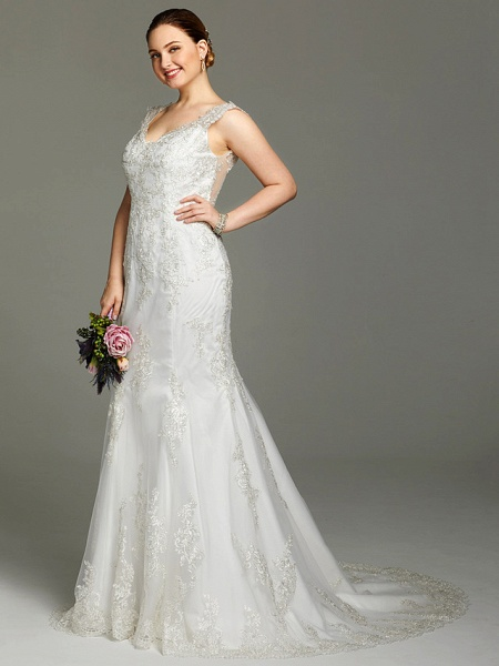 Mermaid \ Trumpet Wedding Dresses V Neck Court Train Lace Sleeveless Open Back See-Through_3