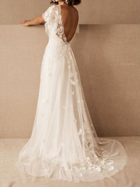 A-Line Wedding Dresses Scoop Neck Floor Length Tulle Short Sleeve Country Plus Size_2