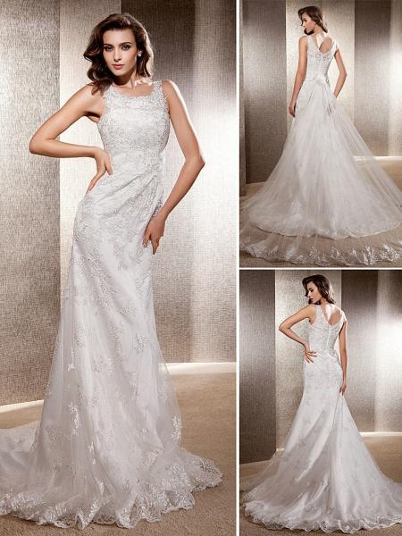 Mermaid \ Trumpet Wedding Dresses Scoop Neck Sweep \ Brush Train Lace Tulle Sleeveless_1