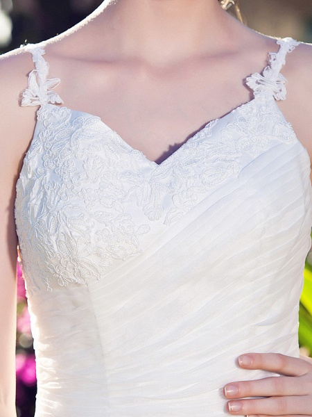 A-Line Wedding Dresses V Neck Asymmetrical Organza Spaghetti Strap_7