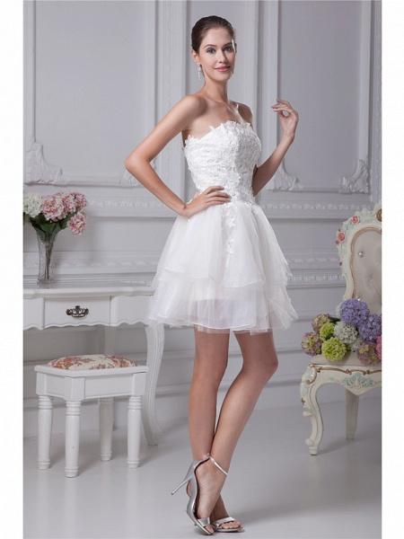 A-Line Wedding Dresses Strapless Mini Lace Organza Strapless_2