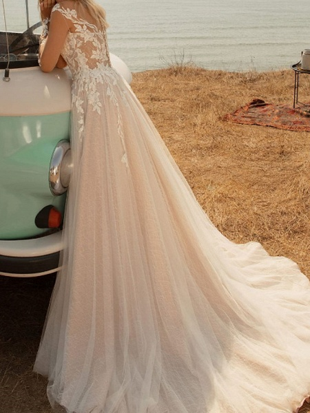 A-Line Wedding Dresses V Neck Sweep \ Brush Train Lace Tulle Jersey Long Sleeve Country Plus Size Illusion Sleeve_2