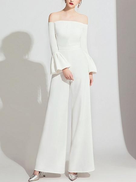 Jumpsuits Wedding Dresses Off Shoulder Floor Length Polyester Long Sleeve Formal Simple_4