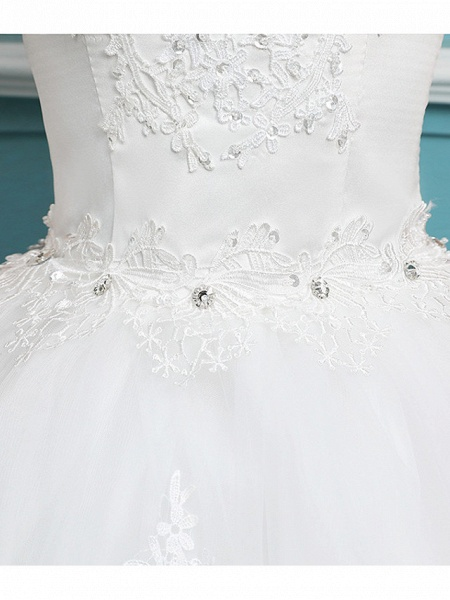 Ball Gown Wedding Dresses Bateau Neck Floor Length Lace Tulle Polyester Short Sleeve Romantic_7