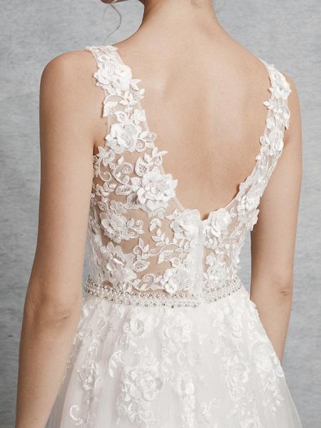 A-Line Wedding Dresses V Neck Court Train Lace Satin Tulle Regular Straps Romantic Illusion Detail Backless_7