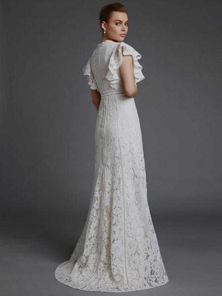 A-Line V Neck Sweep \ Brush Train Lace Sleeveless Boho Wedding Dresses_2