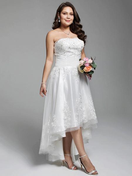 A-Line Wedding Dresses Strapless Asymmetrical Lace Tulle Strapless Little White Dress Open Back_3