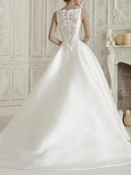 A-Line Wedding Dresses Bateau Neck Court Train Satin Regular Straps Simple Sparkle & Shine_2