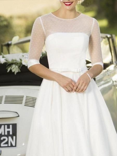A-Line Wedding Dresses Jewel Neck Tea Length Satin Tulle Half Sleeve Vintage Sexy Wedding Dress in Color_2