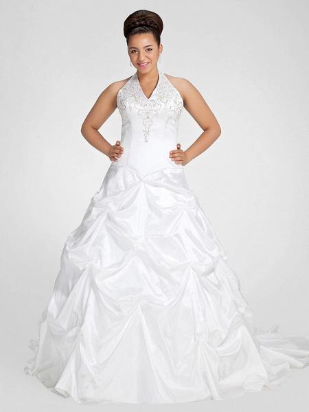 Ball Gown V Neck Court Train Taffeta Regular Straps Glamorous Vintage Plus Size Backless Wedding Dresses_1