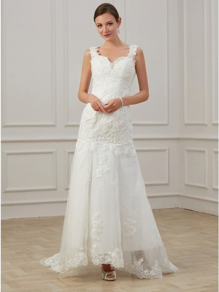 Sheath \ Column Wedding Dresses V Neck Floor Length Lace Tulle Sleeveless Formal Illusion Detail Plus Size_3