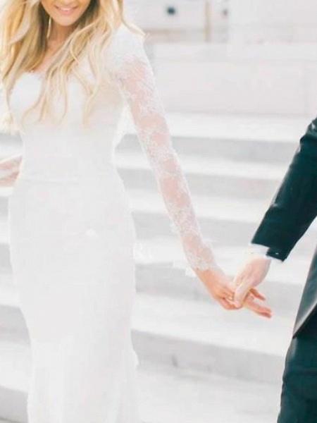Sheath \ Column Wedding Dresses Scoop Neck Sweep \ Brush Train Lace Long Sleeve Illusion Sleeve_3