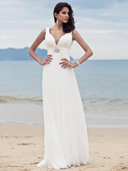 Sheath \ Column Wedding Dresses Straps V Neck Sweep \ Brush Train Floor Length Chiffon Sleeveless_3