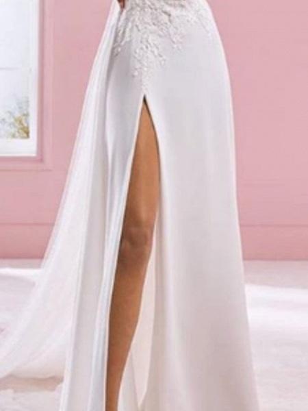 A-Line Wedding Dresses V Neck Sweep \ Brush Train Chiffon Lace Sleeveless Formal Plus Size_2