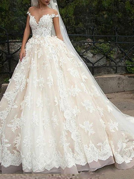Ball Gown Off Shoulder Court Train Polyester Cap Sleeve Country Plus Size Wedding Dresses_1