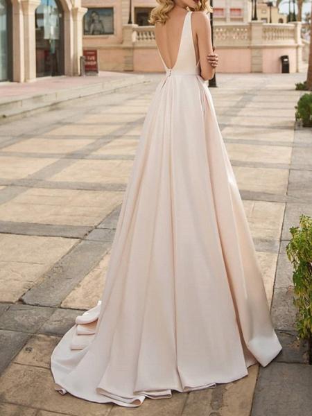 A-Line Wedding Dresses V Neck Floor Length Polyester Sleeveless Formal Plus Size_3