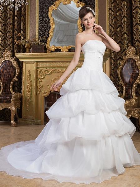 Ball Gown Strapless Court Train Organza Satin Strapless Wedding Dresses_2