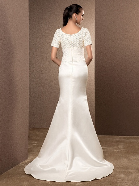 Mermaid \ Trumpet Wedding Dresses Scoop Neck Court Train Lace Satin Short Sleeve_2
