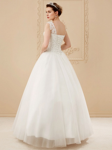 Ball Gown Wedding Dresses Scoop Neck Floor Length Beaded Lace Regular Straps Romantic Illusion Detail_2