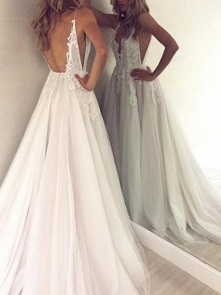 A-Line Wedding Dresses V Neck Court Train Polyester Spaghetti Strap Formal Boho Plus Size_3