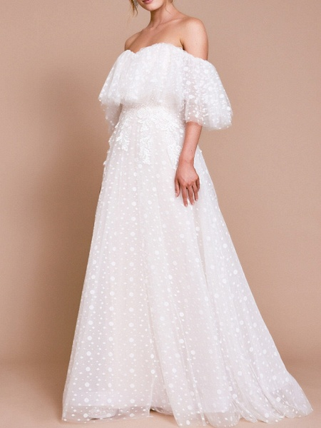 A-Line Wedding Dresses Off Shoulder Sweep \ Brush Train Tulle Half Sleeve Beach Sexy Wedding Dress in Color Backless_1