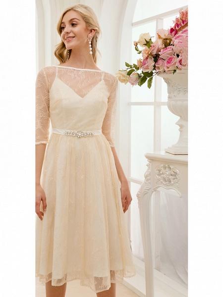 A-Line Wedding Dresses Bateau Neck Knee Length Lace Charmeuse 3\4 Length Sleeve See-Through_6