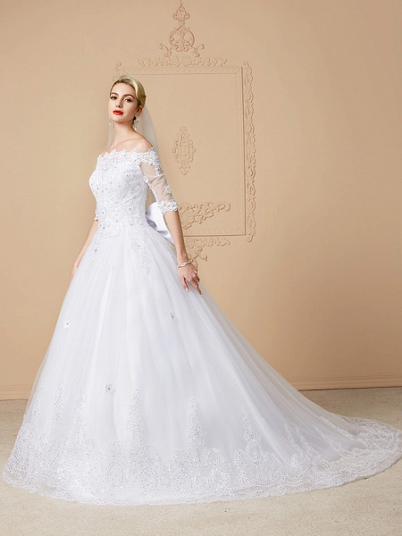 Ball Gown Wedding Dresses Off Shoulder Court Train Lace Tulle Half Sleeve Sparkle & Shine Open Back Cute_3