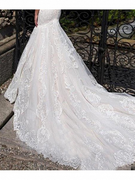 Mermaid \ Trumpet Off Shoulder Court Train Lace Strapless Formal Simple Casual Wedding Dresses_4