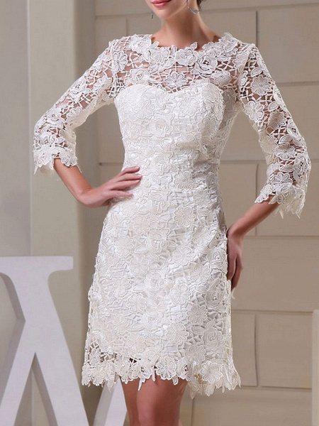 Sheath \ Column Wedding Dresses Jewel Neck Knee Length Lace Long Sleeve Formal Little White Dress_1