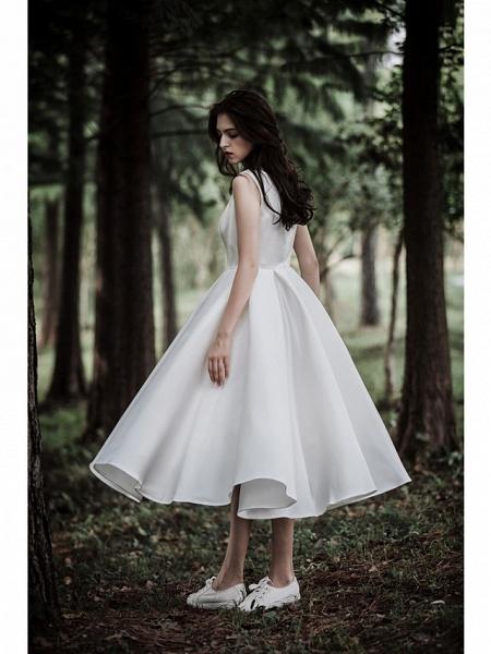 A-Line Wedding Dresses Jewel Neck Tea Length Chiffon Over Satin Cap Sleeve Simple Casual Little White Dress_5